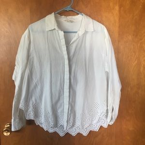 H&M White Button Up Lace Shirt